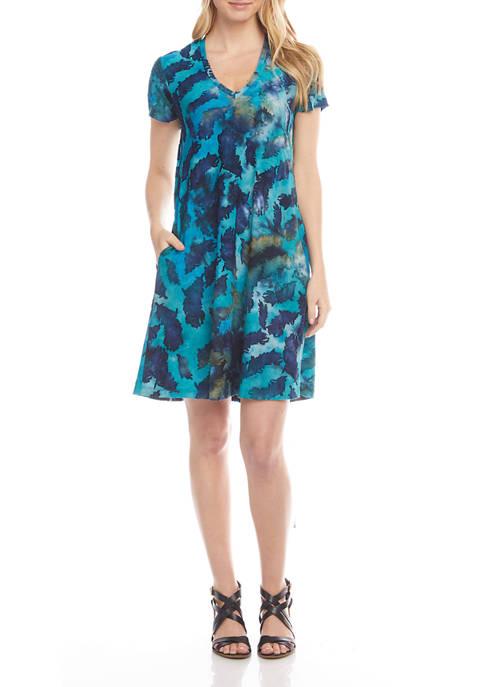 Karen Kane Womens Short Sleeve Tie Dye V-Neck