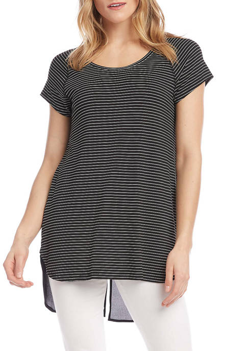 Karen Kane Womens Contrast Shirttail Hem Top
