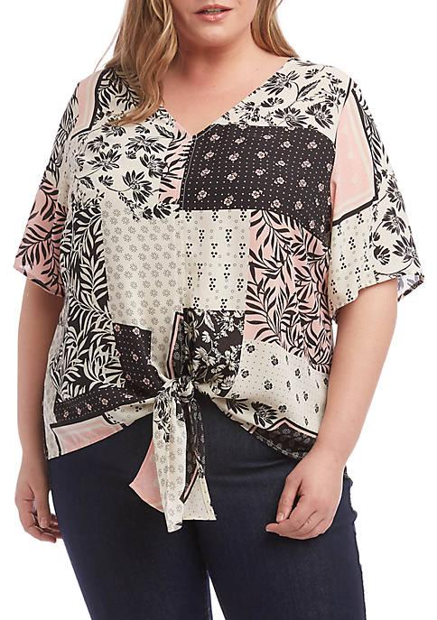Plus Size Tie Front Top