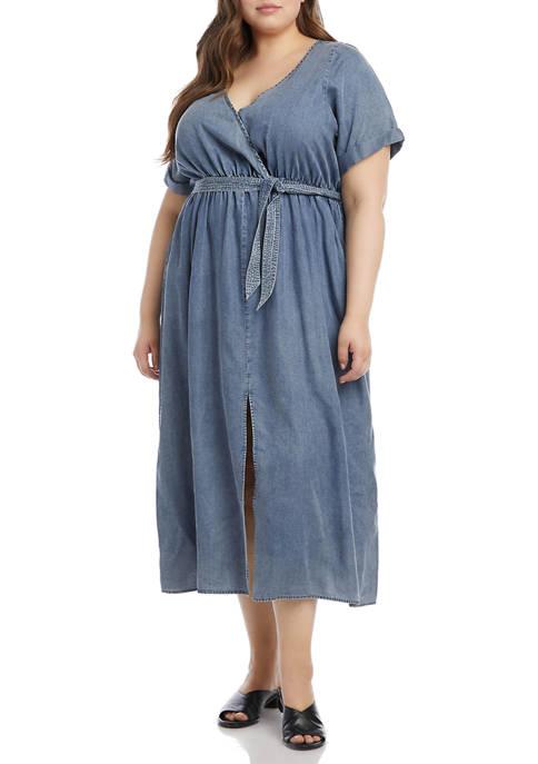 Karen Kane Plus Size Cuffed Sleeve Dress