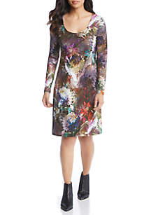Long Sleeve Floral Print A-Line Dress