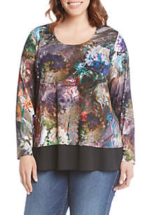 Long Sleeve Floral Pattern Top