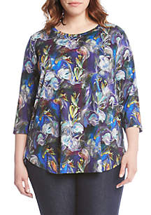 Plus Size Three-Quarter Sleeve Printed Iris T-Shirt