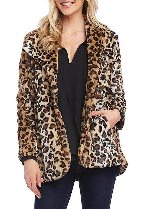 Karen Kane Womens Leopard Faux Fur Coat