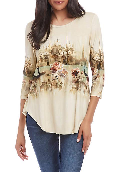 Karen Kane Womens Venice Canal Shirttail T-Shirt