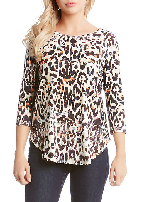 Karen Kane Three-Quarter Sleeve Leopard Shirttail Tee