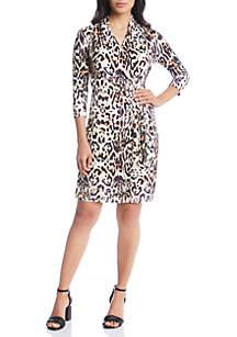 Three-Quarter Sleeve Cascade Wrap Dress