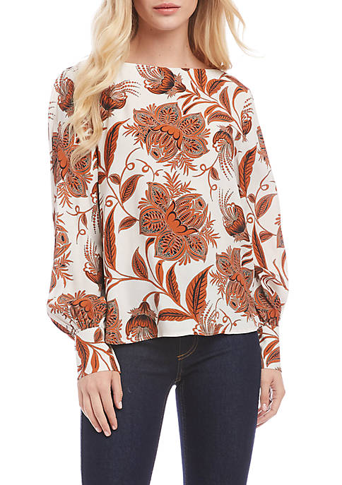 Karen Kane Womens Blouson Sleeve Boat Neck Top