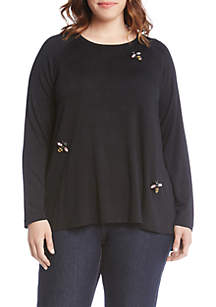 Plus Size Bee Embellished Top