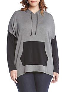 Plus Size Long Sleeve Colorblock Hoodie