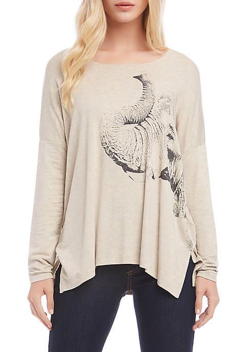 Karen Kane Womens Elephant Print T-Shirt