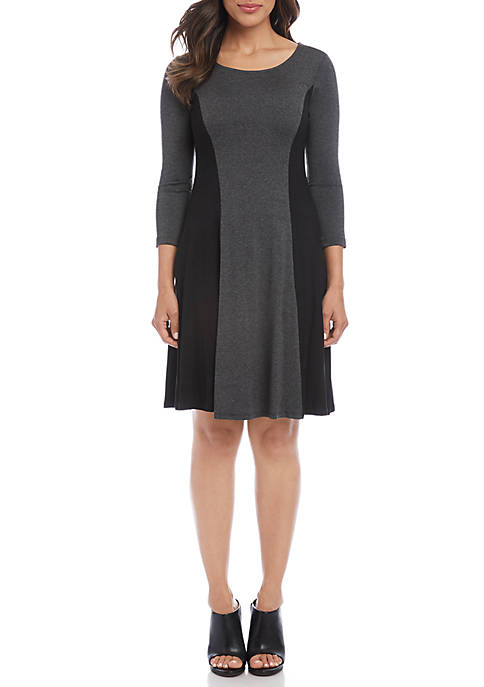 Karen Kane 3/4 Sleeve Color Block Dress
