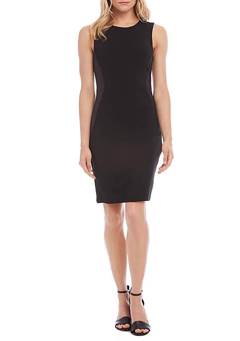 Karen Kane Contrast Faux Leather Dress