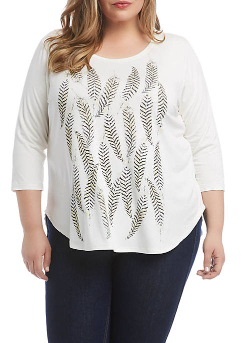 Plus Size 3/4 Sleeve Feather Print T-Shirt