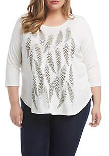 Karen Kane Plus Size 3/4 Sleeve Feather Print T-Shirt