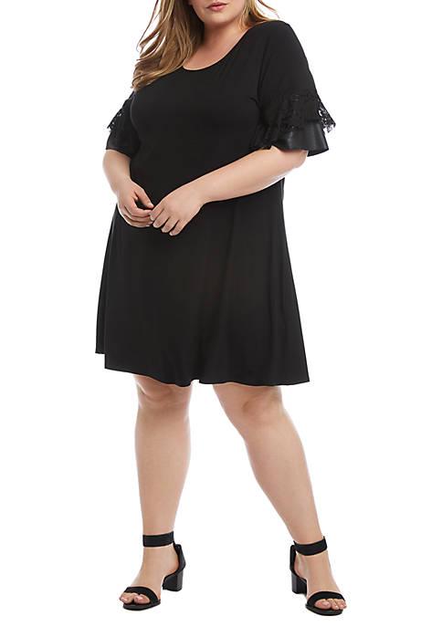 Karen Kane Plus Size Contrast Ruffle Sleeve Dress