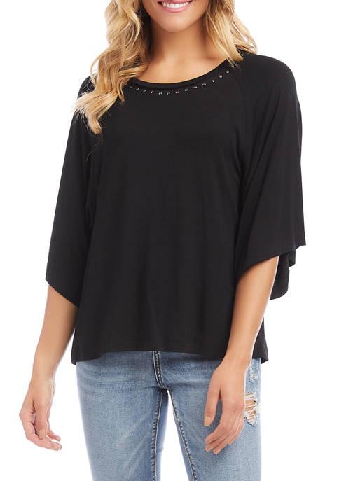 Karen Kane Womens Studded Modern Sleeve Top