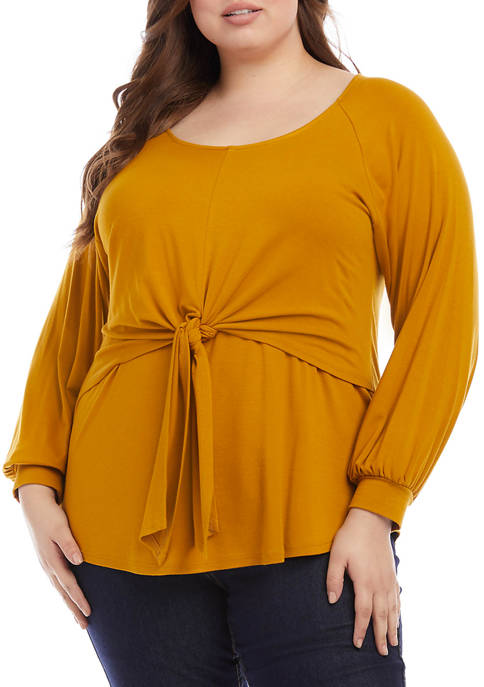 Karen Kane Plus Size Long Sleeve Layered Tie