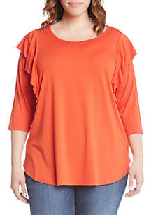 Plus Size Three-Quarter Sleeve Ruffle Top