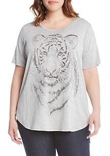 Plus Size Tiger Print Graphic Tee