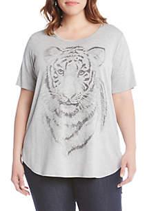 Plus Size Tiger Print Graphic Tee