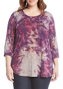 Plus Size 3/4 Sleeve Tie-Dye Top