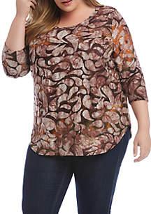 Karen Kane Plus Size Tie Dye Burnout Shirttail T-Shirt