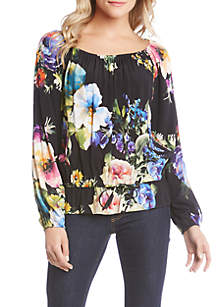 Floral Ruffle Tie Front Blouse