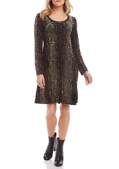 Karen Kane Womens Velvet Burnout Dress