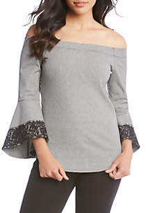 Off-the-Shoulder Houndstooth Lace Trim Blouse