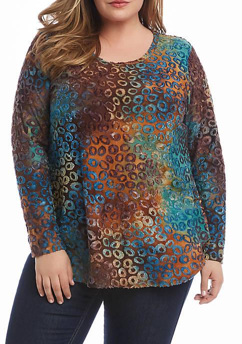 Karen Kane Plus Size Burnout Shirttail Top