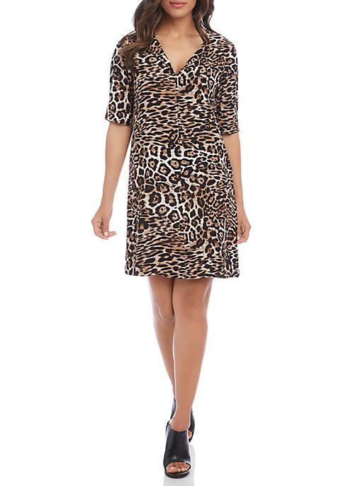 Karen Kane Womens Leopard Print Shift Dress