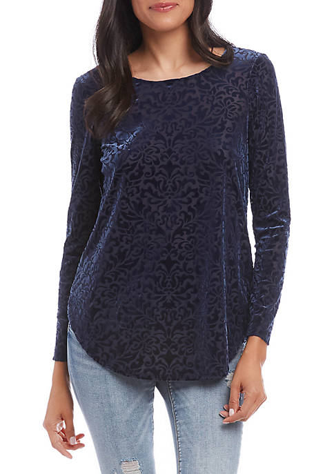 Karen Kane Velvet Burnout Shirttail Top