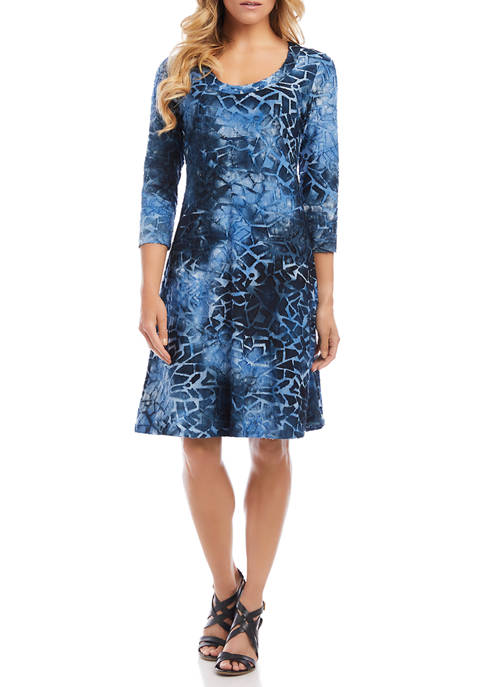 Karen Kane Petite 3/4 Sleeve A Line Dress
