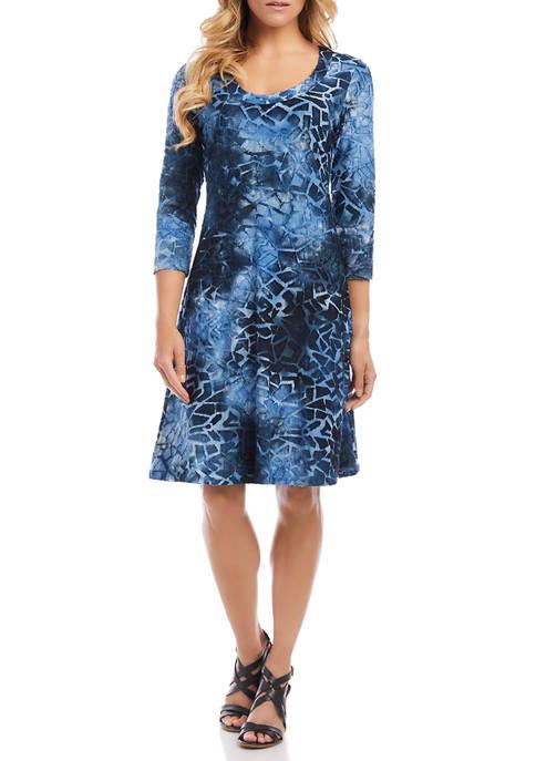 Womens 3/4 Sleeve A Line Dress