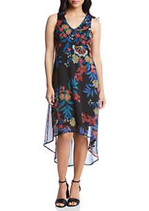 Karen Kane Sketch Floral High Low Hem Dress