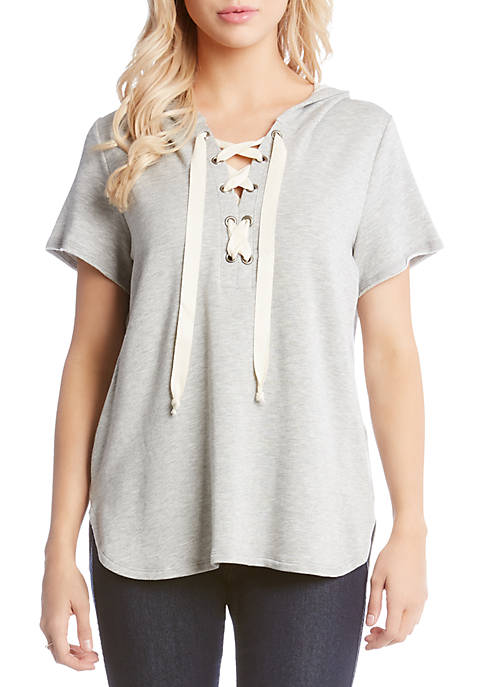 Karen Kane Short Sleeve Lace-Up Top