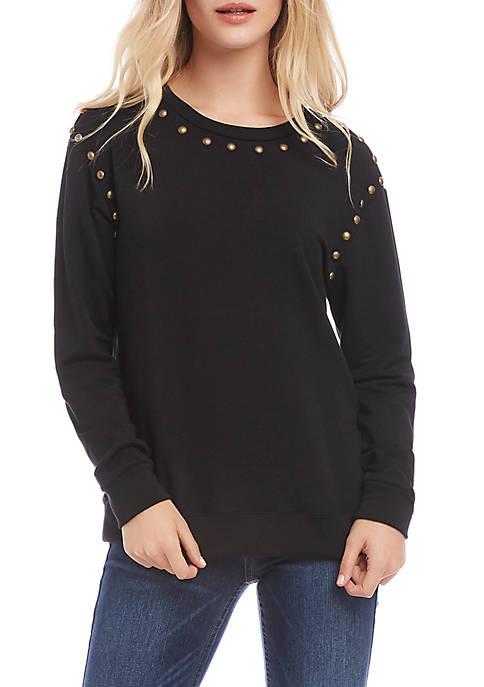 Karen Kane Womens Studded Pullover Sweatshirt