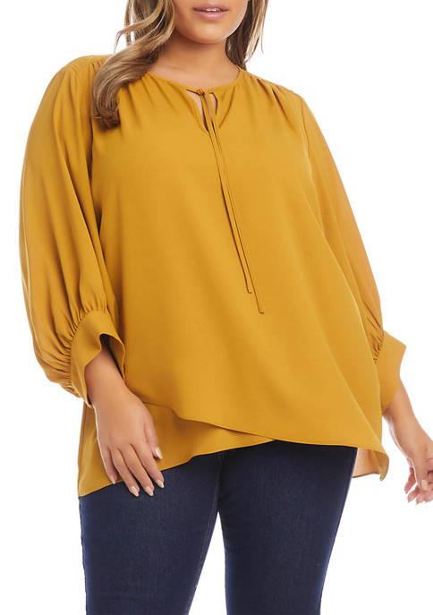 Karen Kane Plus Size Shirred V-Neck Top