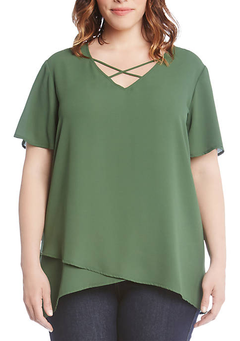 Karen Kane Plus Size Criss-Cross Front Top