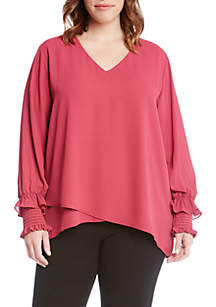 Plus Size Crossover Blouse