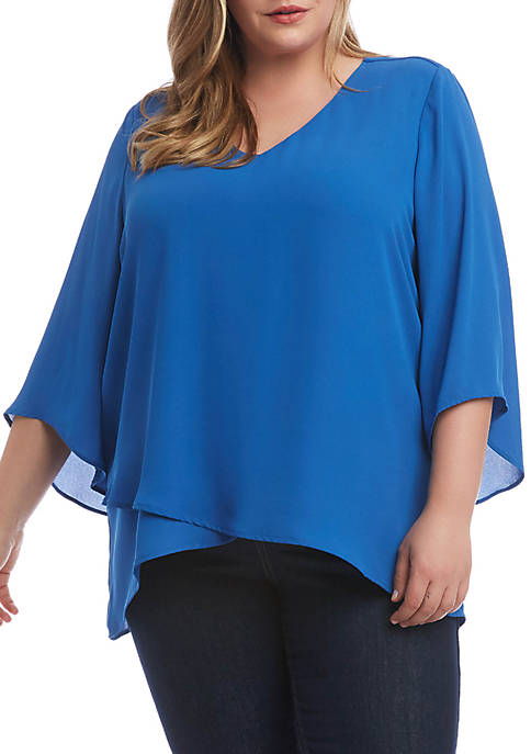 Karen Kane Plus Size Asymmetric Hem Wrap Top
