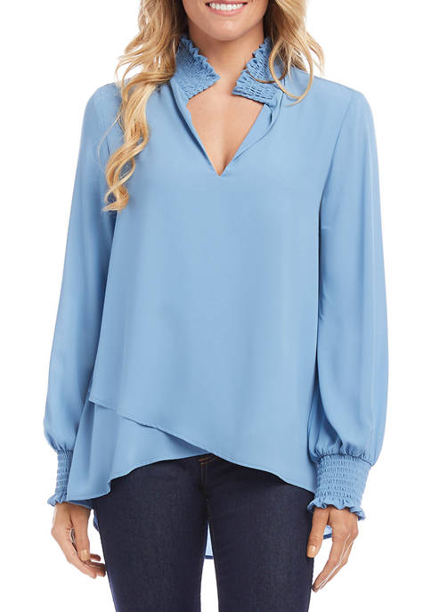Womens Smocked Neck Crossover Top
