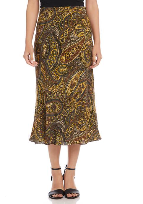 Karen Kane Womens Pull On Paisley Crepe Skirt