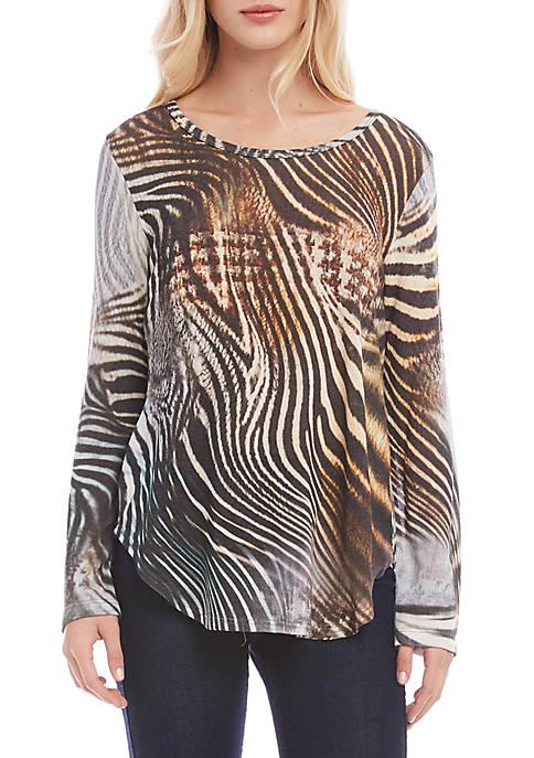 Karen Kane Womens Long Sleeve Shirttail Top