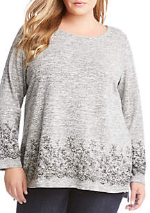Plus Size Lace Border Print Sweater