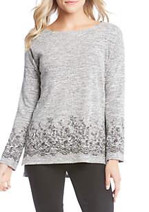 Print Lace Border Sweater
