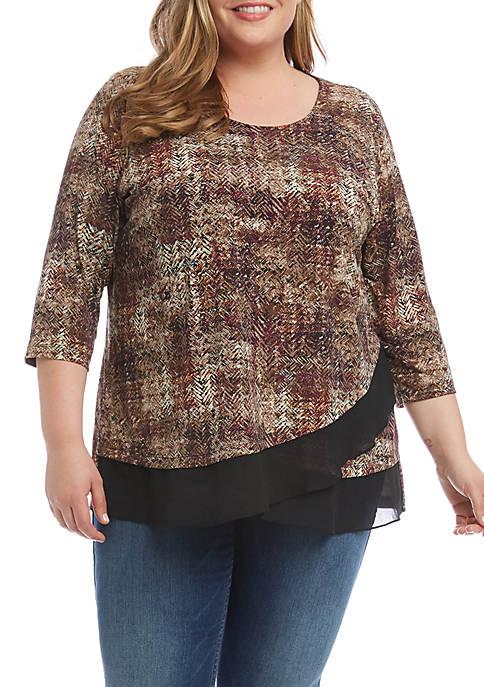 Karen Kane Plus Size Sheer Hem Top