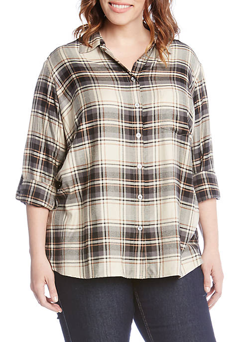 Karen Kane Plus Size Roll-Tab Plaid Shirt