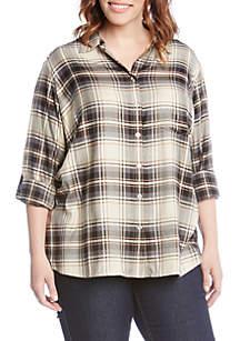Plus Size Roll-Tab Plaid Shirt